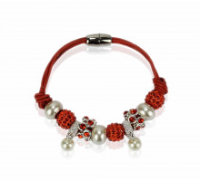 Náramek Orange Crystal Bracelet With Pearl Charm