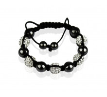 Náramek White Shamballa Bracelet Crystal-Disco Ball Friendship Bead