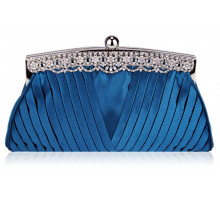 Psaníčko Teal  Ruched Satin Clutch With Crystal Decoration