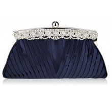 Psaníčko Navy Ruched Satin Clutch With Crystal Decoration
