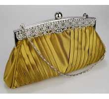 Psaníčko Gold Ruched Satin Clutch With Crystal Decoration