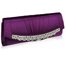 Psaníčko Purple Sparkly Crystal Satin Clutch purse
