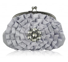 Psaníčko Sparkly Silver Crystal  Flower evening clutch bag