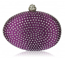 Psaníčko Purple Diamante Hardcase Clutch Bag