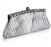 Psaníčko  Silver Ruched Satin Clutch With Crystal Decoration