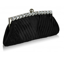 Psaníčko Black Ruched Satin Clutch With Crystal Decoration