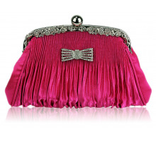 Psaníčko Pink Ruched Satin Clutch With Crystal Decoration