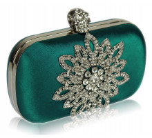 Psaníčko Teal Sparkly Crystal Satin Clutch purse