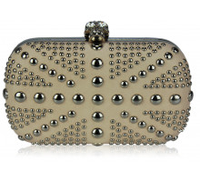 Psaníčko Beige Studded Clutch Bag With Crystal-Encrusted Skull Clasp