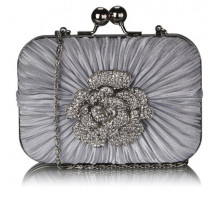 Psaníčko Gorgeous Satin Rouched Brooch Hard Case Silver Evening Bag