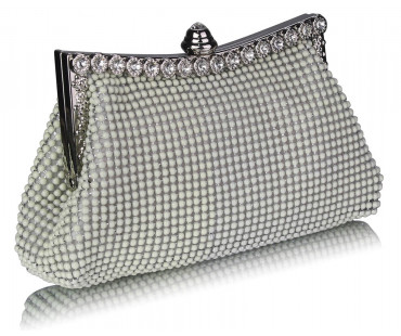 Psaníčko Ivory Sparkly Crystal Satin Clutch purse