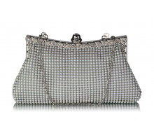 Psaníčko Sparkly White Crystal Satin Clutch purse