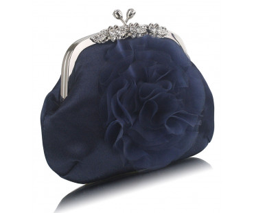 Kabelka Navy Crystal Flower Satin Clutch