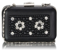 Psaníčko Black Beaded Box Clutch Bag With Crystal Decoration