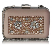 Psaníčko Nude Beaded Box Clutch Bag With Crystal Decoration