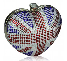 Psaníčko Union Jack Diamante Hardcase Heart Clutch Bag