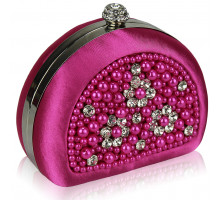 Psaníčko Pink Beaded Pearl Rhinestone Clutch Bag