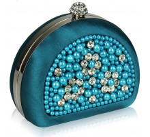 Psaníčko Teal Beaded Pearl Rhinestone Clutch Bag