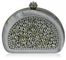Psaníčko  Silver Beaded Pearl Rhinestone Clutch Bag