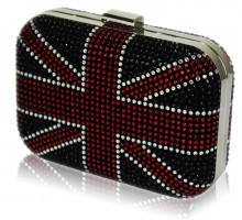 Psaníčko Women's Black Union Jack Box Clutch