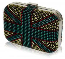 Psaníčko Women's Gold Union Jack Box Clutch