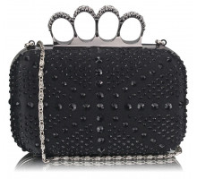 Psaníčko Black Women's Knuckle Rings Evening Bag - černé