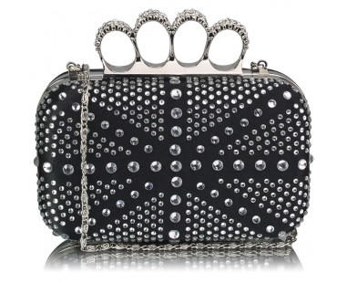 Psaníčko Black/Silver Women's  Knuckle Rings Evening Bag