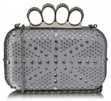 Psaníčko Silver Women's Knuckle Rings Evening Bag - stříbrné
