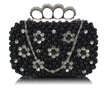 Psaníčko Black Women's Knuckle Rings Clutch With Crystal Decoration