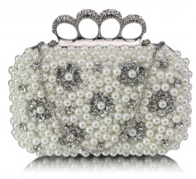 Psaníčko Ivory Women's Knuckle Rings Clutch With Crystal Decoration