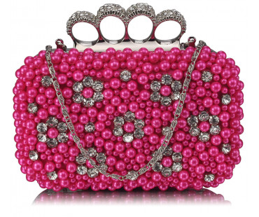 Psaníčko Pink Women's Knuckle Rings Clutch With Crystal Decoration