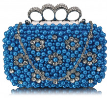 Psaníčko Teal Women's Knuckle Rings Clutch With Crystal Decoration