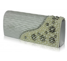Psaníčko - Ivory Satin Beaded Clutch Bag With Crystal Decoration