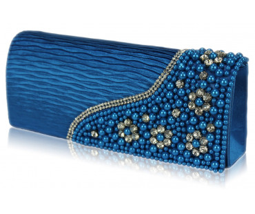 Psaníčko Teal Satin Beaded Clutch Bag With Crystal Decoration