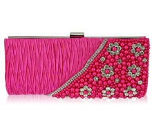 Psaníčko - Pink Satin Beaded Clutch Bag With Crystal Decoration