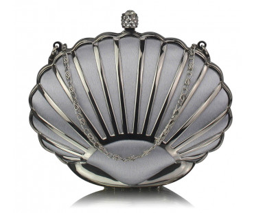 Kabelka Silver Shell Clutch Bag With Crystal