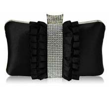 Psaníčko - Gorgeous Black Crystal Strip Clutch Evening Bag