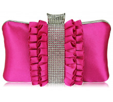 Psaníčko - Gorgeous Pink Crystal Strip Clutch Evening Bag