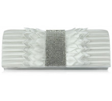 Psaníčko -Ivory Ruched Satin Clutch With Crystal Trim