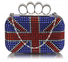 Psaníčko Blue Union Jack Clutch With Crystal Decoration