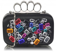 Psaníčko Black Knuckle Rings Clutch With Crystal Decoration