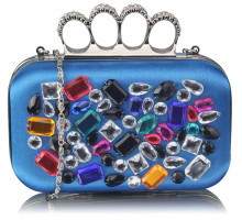 Psaníčko Blue Knuckle Rings Clutch With Crystal Decoration - modré