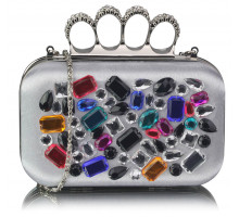 Psaníčko Silver Knuckle Rings Clutch With Crystal Decoration