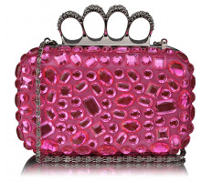 Psaníčko - Pink Knuckle Rings Clutch With Crystal Decoration