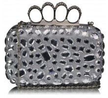 Psaníčko - Silver Knuckle Rings Clutch With Crystal Decoration