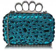 Psaníčko - Turquoise Knuckle Rings Clutch With Crystal Decoration