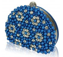 Psaníčko - Teal  Beaded Pearl Rhinestone Clutch Bag