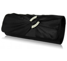 Psaníčko Black Satin Clutch Bag With Crystal Decoration - černé