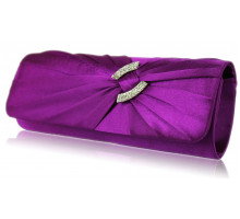 Psaníčko - Purple Satin Clutch Bag With Crystal Decoration