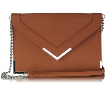 Psaníčko Brown Flapover Clutch purse